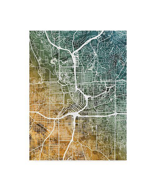 "Trademark Global Michael Tompsett Atlanta Georgia City Map Teal Orange Canvas Art - 20"" x 25"""