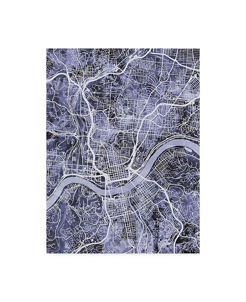 "Trademark Global Michael Tompsett Cincinnati Ohio City Map Blue Canvas Art - 15"" x 20"""