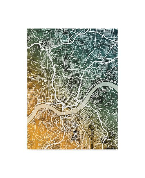 "Trademark Global Michael Tompsett Cincinnati Ohio City Map Teal Orange Canvas Art - 20"" x 25"""