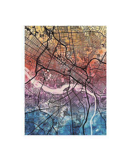 "Trademark Global Michael Tompsett Richmond Virgina City Map IV Canvas Art - 15"" x 20"""