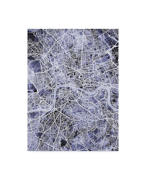 "Trademark Global Michael Tompsett London England Street Map Blue Canvas Art - 15"" x 20"""