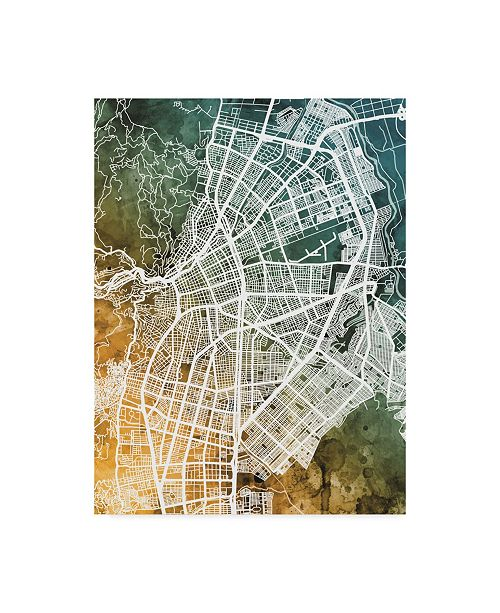 "Trademark Global Michael Tompsett Cali Colombia City Map Teal Orange Canvas Art - 20"" x 25"""