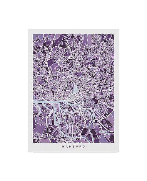 "Trademark Global Michael Tompsett Hamburg Germany City Map Purple Canvas Art - 37"" x 49"""