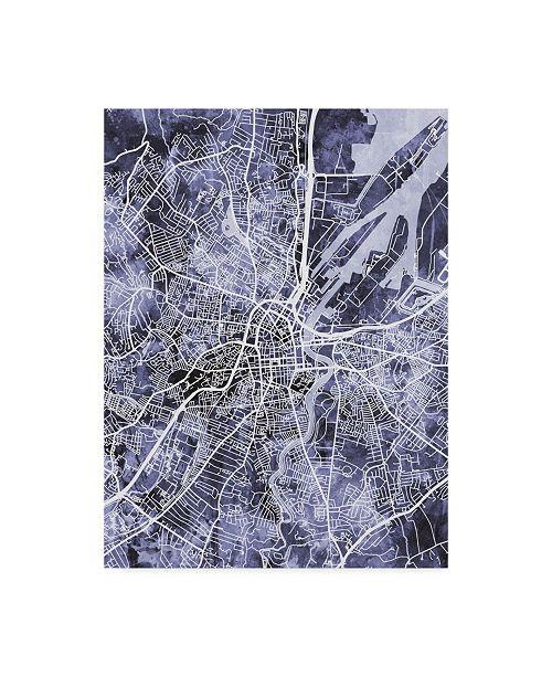 "Trademark Global Michael Tompsett Belfast Northern Ireland City Map Watercolor Blue Canvas Art - 20"" x 25"""