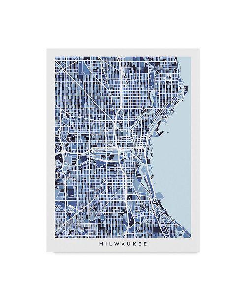 "Trademark Global Michael Tompsett Milwaukee Wisconsin City Map Blue Canvas Art - 20"" x 25"""
