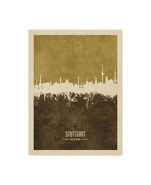 """Trademark Global Michael Tompsett Stuttgart Germany Skyline Brown Canvas Art - 15"""" x 20"""""""