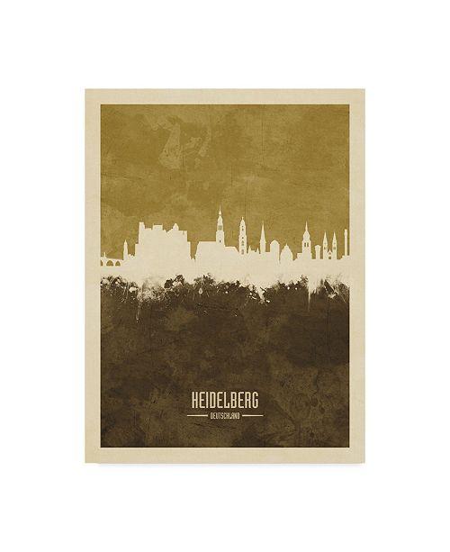 "Trademark Global Michael Tompsett Heidelberg Germany Skyline Brown Canvas Art - 20"" x 25"""