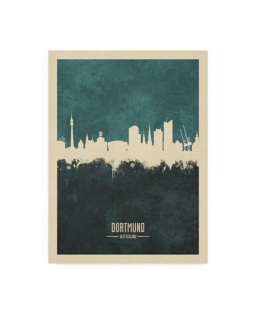 "Trademark Global Michael Tompsett Dortmund Germany Skyline Teal Canvas Art - 15"" x 20"""