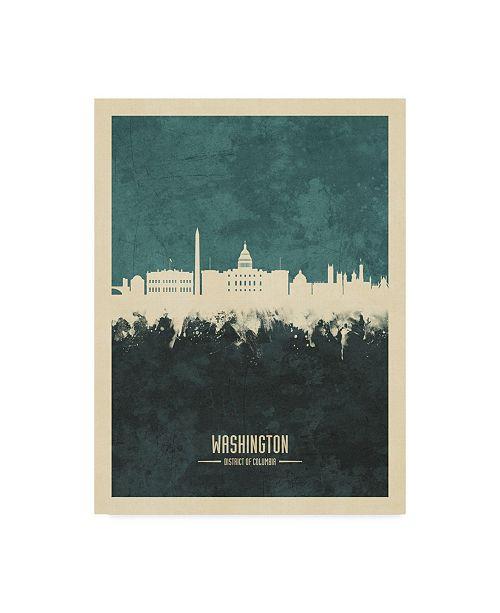 "Trademark Global Michael Tompsett Washington DC Skyline Teal Canvas Art - 20"" x 25"""