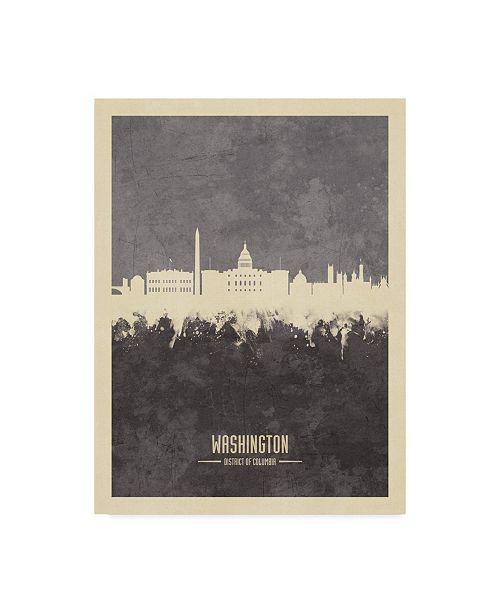 "Trademark Global Michael Tompsett Washington DC Skyline Gray Canvas Art - 15"" x 20"""
