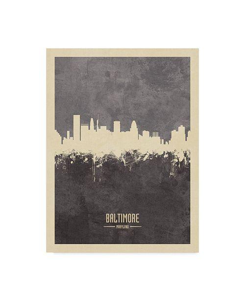 "Trademark Global Michael Tompsett Baltimore Maryland Skyline Gray Canvas Art - 15"" x 20"""