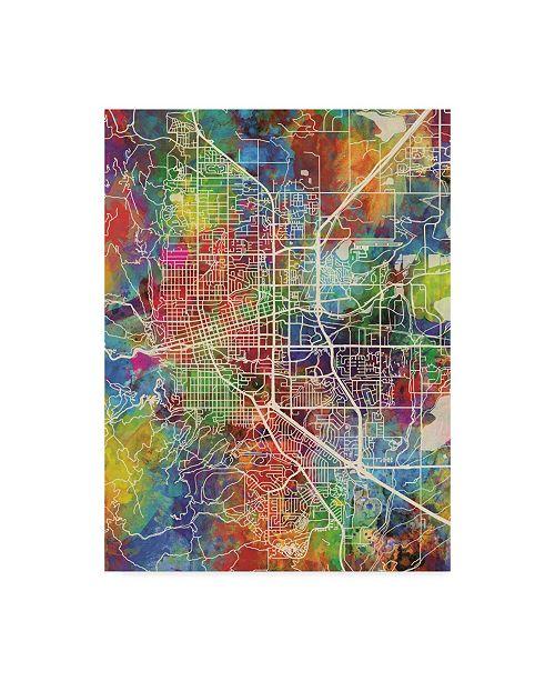 "Trademark Global Michael Tompsett Boulder Colorado City Map Canvas Art - 15"" x 20"""