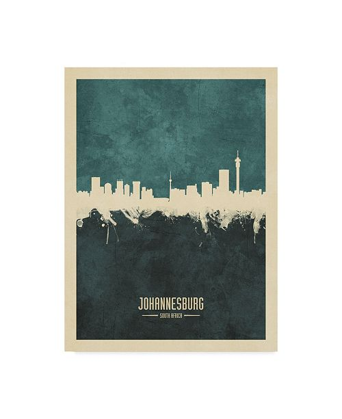 "Trademark Global Michael Tompsett Johannesburg South Africa Skyline Teal Canvas Art - 20"" x 25"""