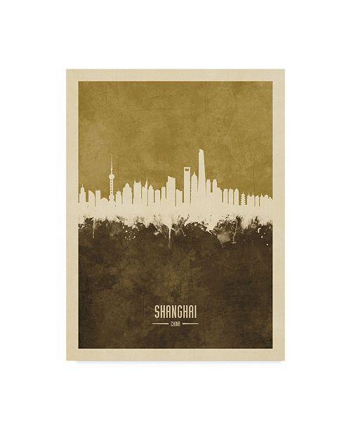 "Trademark Global Michael Tompsett Shanghai China Skyline Brown Canvas Art - 20"" x 25"""