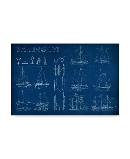 "Trademark Global Ethan Harper Sailing Infograph Canvas Art - 15"" x 20"""