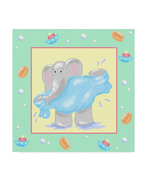 "Trademark Global Jade Reynolds Baby Elephant Bath IV Canvas Art - 20"" x 25"""