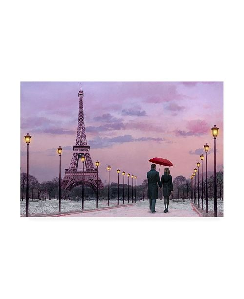 "Trademark Global Chris Consani Red Paris Umbrella Canvas Art - 20"" x 25"""
