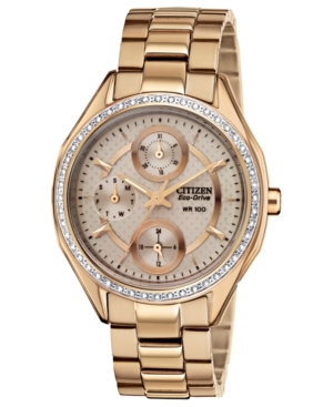 Citizen Women's Drive from Citizen Eco-Drive Rose Gold-Tone Stainless Steel Bracelet Watch 35mm FD1063-57X