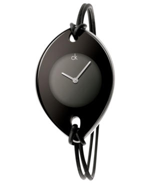 Calvin Klein Watch, Women's Swiss Suspension Black Leather Strap 46x31mm K3323330