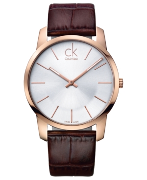 Calvin Klein Watch, Men's Swiss City Brown Leather Strap 43mm K2G21629