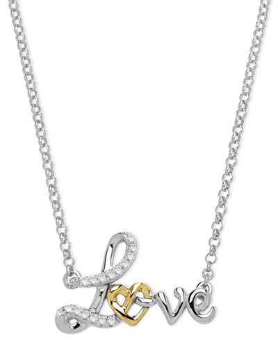 14k gold and sterling silver necklace diamond accent love pendant 14k gold and sterling silver necklace diamond accent love pendant aloadofball Image collections