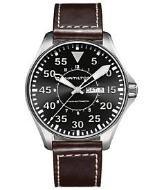 Hamilton Watch, Men's Swiss Automatic Khaki Pilot Brown Leather Strap 46mm H64715535
