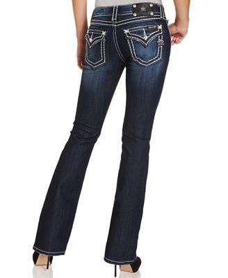 Miss Me Rhinestone Dark Wash Bootcut Jeans - Jeans - Women - Macy's