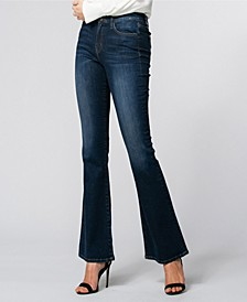 High Waist Dark Denim Flare Pants