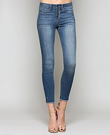 Mid Rise Button Up Ankle Skinny Jeans