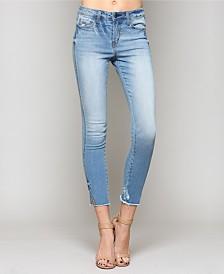 Vervet Mid Rise Raw Hem Ankle Skinny Jeans with Side Slit Hem