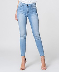 Flying Monkey High Rise Hem Detail Crop Skinny Jeans