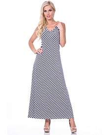 Women's Backless Striped Maxi Dress