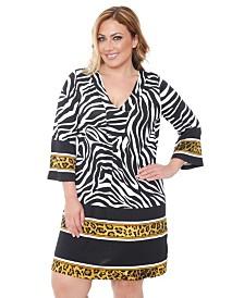 White Mark Women's Plus Size Madelyn Zebra Print Dress