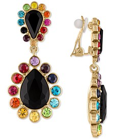 Gold-Tone Multicolor Crystal Clip-On Double Drop Earrings