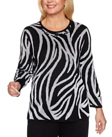 Alfred Dunner Classics  Metallic Animal-Print Sweater