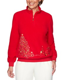 Alfred Dunner Classics  Holiday-Embroidered Mock-Neck Sweater