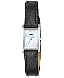 Women's Quartz Black Leather Strap Watch 18x22mm