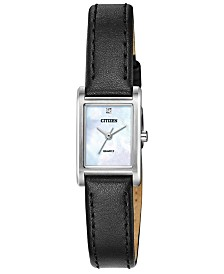 Citizen Women's Quartz Black Leather Strap Watch 18x22mm