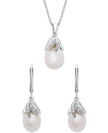 "2-Pc. Set Cultured Freshwater Pearl & Diamond Accent 18"" Pendant Necklace & Drop Earrings Set in Sterling Silver"