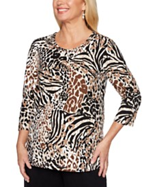 Alfred Dunner Classics Embellished Printed Top