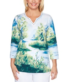 Alfred Dunner Classics  Scenic-Print Studded Top
