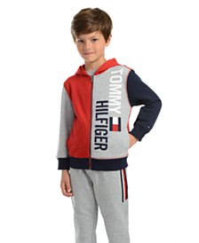 Tommy Hilfiger Little Boys Lawrence Colorblocked Full-Zip Fleece Logo Hoodie