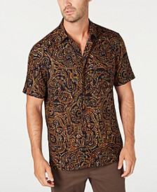 Men's Paisley Print Short Sleeve Silk Shirt, Created for Macy's