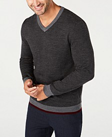 Men's Merino Wool Blend V-Neck Solid Sweater, Created for Macy's