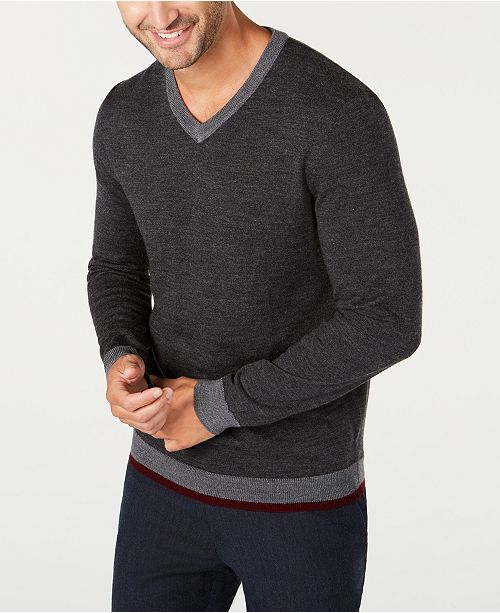 Tasso Elba Men's Merino Wool Blend V-Neck Solid Sweater, Created for Macy's