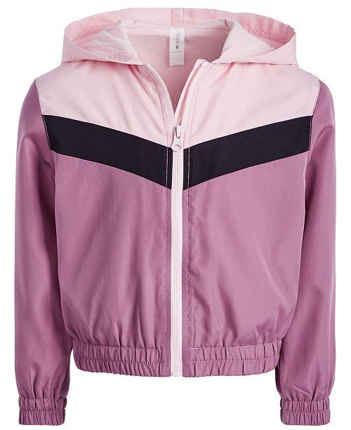 Ideology Little Girls Colorblocked Hooded Windbreaker Jacket, Created for Macy's