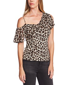 Vince Camuto Leopard-Print Chiffon Overlay Top