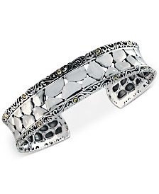 EFFY® Crackle-Look Cuff Bracelet in Sterling Silver & 18k Gold