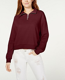Juniors' Waffle-Knit Quarter-Zip Top