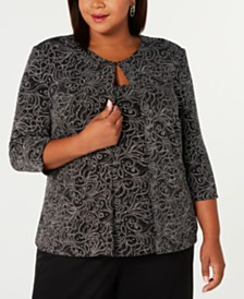 Alex Evenings Plus Size Printed Twinset